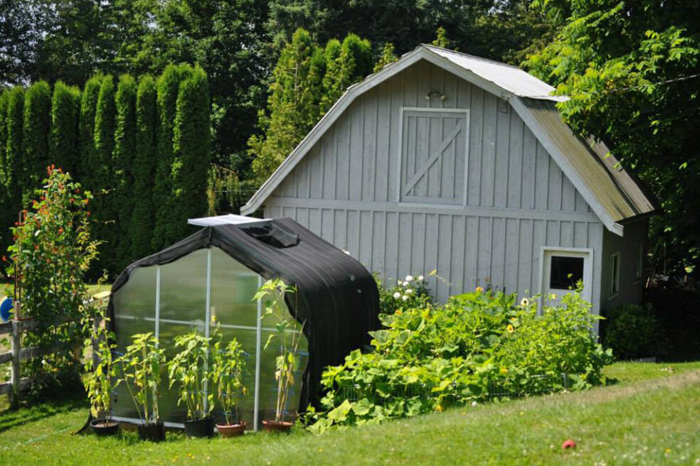 Beautiful green lawn and bushes surrounding barn